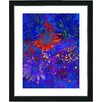 """Studio Works Modern """"Blue Abstract Daisies - Red"""" by Zhee Singer Framed Graphic Art"""