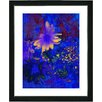 "Studio Works Modern ""Blue Abstract Daisies - Yellow"" by Zhee Singer Framed Fine Art Giclee Painting Print"