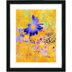 "Studio Works Modern ""Yellow Daisy Cups - Blue"" by Zhee Singer Framed Fine Art Giclee Painting Print"