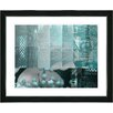 """Studio Works Modern """"Urban Puzzle - Turquoise"""" by Zhee Singer Framed Fine Art Giclee Painting Print"""