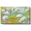 "Studio Works Modern ""White Flamingos"" Gallery Wrapped by Zhee Singer Painting Print on Canvas"