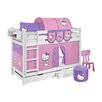 Lilokids Etagenbett Jelle mit Hello Kitty Vorhang, 90 x 200 cm