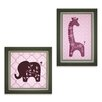 Lambs & Ivy Lavender Jungle 2 Piece Decorative Wall Hanging Set