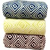 LCM Home Fashions Luxury Printed Square Plush Throw Blanket
