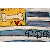 """Marmont Hill """"Peace Bone Flag"""" by Tori Campisi Painting Print on White Pine Wood"""