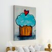 """Marmont Hill """"Blue Cupcake"""" by Tori Campisi Painting Print on Wrapped Canvas"""