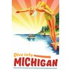 Marmont Hill 'Travel Poster Michigan' Painting Print on Wrapped Canvas