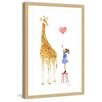 """Marmont Hill """"Giraffe and Girl"""" by Phyllis Harris Framed Painting Print"""