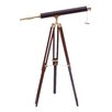 Handcrafted Nautical Decor Floor Standing Leather Harbor Master Refractor Telescope