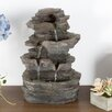 Polyresin Stone Tabletop Fountain with LED Light - Pure Garden Indoor and Outdoor Fountains