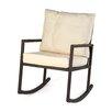 Trademark Innovations Rattan Rocker Chair with Cushion