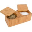 Trademark Innovations Bamboo Salt & Pepper Box