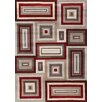 Kalora Mansoori Textured Red Squares Area Rug