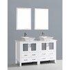 """Bosconi Contemporary 60"""" Double Bathroom Vanity Set with Mirror"""