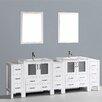 """Bosconi Contemporary 96"""" Double Bathroom Vanity Set with Mirror"""
