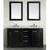 """Bosconi 60"""" Double Bathroom Vanity Set with Mirror"""