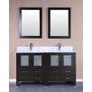 """Bosconi 60"""" Double Vanity Set with Mirror"""