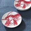 """Boston International Lobster 6.25"""" Melamine Appetizer Plates (Set of 4)"""