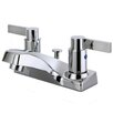 Kingston Brass Nuvofusion Double Handle Centerset Kitchen Faucet with Plastic Pop-Up