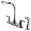 Kingston Brass Nuvofusion Double Handle Centerset Kitchen Faucet with Side Sprayer