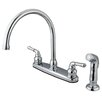 Kingston Brass Magellan Double Handle Kitchen Faucet with Non-Metallic Side Spray