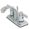 Kingston Brass Nuvo Fusion Double Handle Centerset Bathroom Sink Faucet with ABS Pop-Up Drain