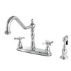 Kingston Brass Essex Double Handle Deck Mounted Centerset Kitchen Faucet with Brass Sprayer