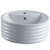 Kingston Brass Tower White China Vessel Bathroom Sink with Overflow Hole and Faucet Hole
