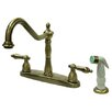 Kingston Brass Heritage Double Handle Centerset Kitchen Faucet with Non-Metallic Spray