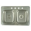 "Kingston Brass Carefree 33.63"" x 22""  Double Bowl Self-Rimming Kitchen Sink"