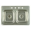 "Kingston Brass Carefree 33.63"" x 22"" Double Bowl Self-Rimming Kitchen Sink"