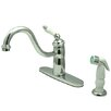 Kingston Brass Victorian Single Handle Widespread Kitchen Faucet with Non-Metallic Spray