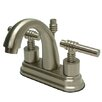 Kingston Brass Milano Double Handle Centerset Bathroom Sink Faucet with Brass Pop-up