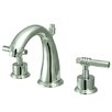 Kingston Brass Milano Double Handle Widespread Bathroom Sink Faucet with Brass Pop-up