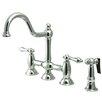 Kingston Brass Restoration Double Handle Deck Mount Kitchen Faucet with Brass Sprayer