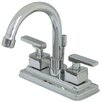 Kingston Brass Executive Double Handle Centerset Bathroom Faucet with Brass Pop-Up Drain