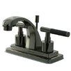 Kingston Brass Water Onyx Double Handle Centerset Bathroom Faucet with Brass Pop Up Drain