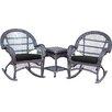 Jeco Inc. Santa Maria Wicker 3 Piece Rocker Seating Group with Cushion