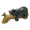 Design Toscano Bear and Bird Lying on Log Figurine