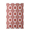 e by design More Hugs and Kisses Geometric Print Orange Indoor/Outdoor Area Rug