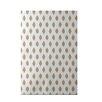 e by design Cop-Ikat Geometric Print Khaki Indoor/Outdoor Area Rug