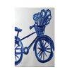 e by design La Bicicleta Geometric Print Dazzling Blue Indoor/Outdoor Area Rug