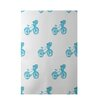 e by design Bicycles! Geometric Print Turquoise Indoor/Outdoor Area Rug