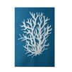 e by design Coral Reef Geometric Print Blue Indoor/Outdoor Area Rug