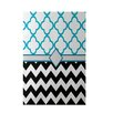 e by design Express Line Geometric Print Black Indoor/Outdoor Area Rug