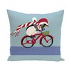 e by design Pedaling Penguin Decorative Holiday Animal Print Throw Pillow