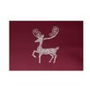 e by design Deer Crossing Decorative Holiday Print Cranberry Burgundy Indoor/Outdoor Area Rug