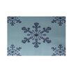e by design Vail Decorative Holiday Print Light Blue Indoor/Outdoor Area Rug