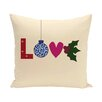 e by design Love Decorative Holiday Word Print Throw Pillow