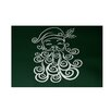 e by design Santa Baby Decorative Holiday Print Dark Green Indoor/Outdoor Area Rug